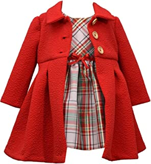 Girl's Holiday Christmas Dress and Coat Set for Baby, Toddler and Little Girls