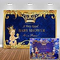 mehofoto Royal Princeベビーシャワーバックドロップゴールドクラウンパール小さな男の子写真背景7x 5ftビニールロイヤルブルーの背景幕のベビーシャワーパーティー