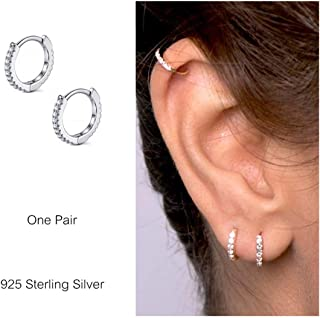 925 Sterling Silver Hoop Earrings Cubic Zirconia Cartilage Earring for Women Girls Small Huggie Piercing Earings Tiny Ear