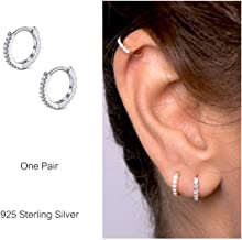 925 Sterling Silver Hoop Earrings Cubic Zirconia Cartilage Earring for Women Girls Small Huggie Piercing Earings Tiny Ear