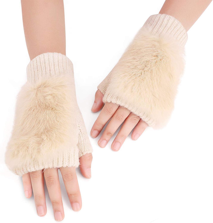 Winter Chic Beads Knitted Gloves Driving Writing Typing Short Fingerless Mitten