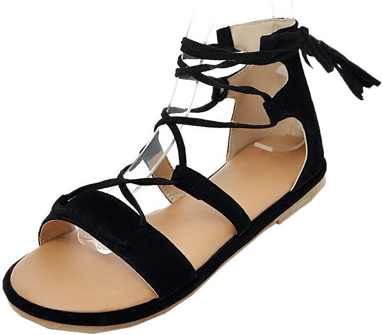 WeiPoot Women's Low-Heels Frosted Solid Lace-up Open-Toe Sandals, EGHLH006585