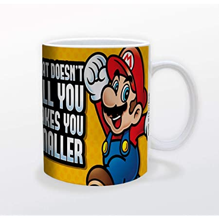 Pyramid America Super Mario Makes You Smaller Mug - 11 oz. Unique Ceramic Cup for Coffee, Cocoa & Tea Drinkers - Chip Resistant & Printed Both Sides