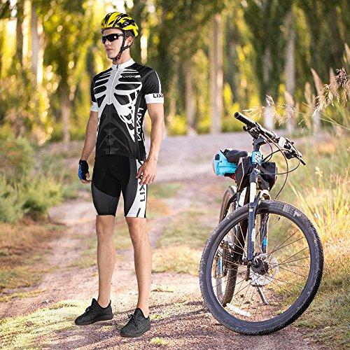 Lixada Herren Radtrikot Set, Atmungsaktiv Quick-Dry Kurzarm Radsport-Shirt + Gel Gepolsterte Shorts, (Schwarz&Weiß, S) - 7