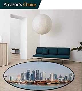 Modern Modern Round Abstract Area Rug,Qatar City Skyline At Dhow Middle Eastern Coast With Ships Skyscrapers View Non-Slip No-Shedding Kitchen Soft Floor Mat Diameter-24 Inch,Light Blue Cinnamon