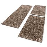 Tappeto stile Shaggy a pelo lungo, set da 3 pezzi - Scendiletto, per camera da letto, Polipropilene, moka, 2x60x110+1x80x150