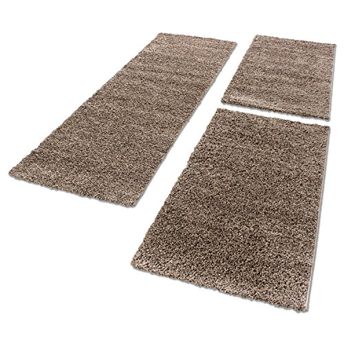 Unbekannt Shaggy Hochflor Teppich Carpet 3TLG Bettumrandung Läufer Set Schlafzimmer Flur, Farbe:Mocca, Bettset:2x60x110+1x80x150