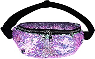 Waymine Women's Sequin Messenger Bag Solid Outdoor Sports Chest Bag Waist Bag Coin Phone Bag