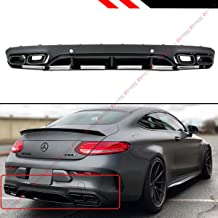 Fits for 2017-2019 Mercedes Benz C-Class W205 2 Door Coupe C200 C250 C300 AMG C43 C63 Edition 1 Style Rear Bumper Diffuser + Black Chrome Exhaust Tips