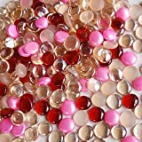 WeJe Glass Gems Standard 17-21mm Round, Holiday Christmas Mixes, Flat Back Marbles, for Home Decor Art Craft Vase Filler Aquarium Fish Tank Decoration (15.5 oz Classy Pink Mix)