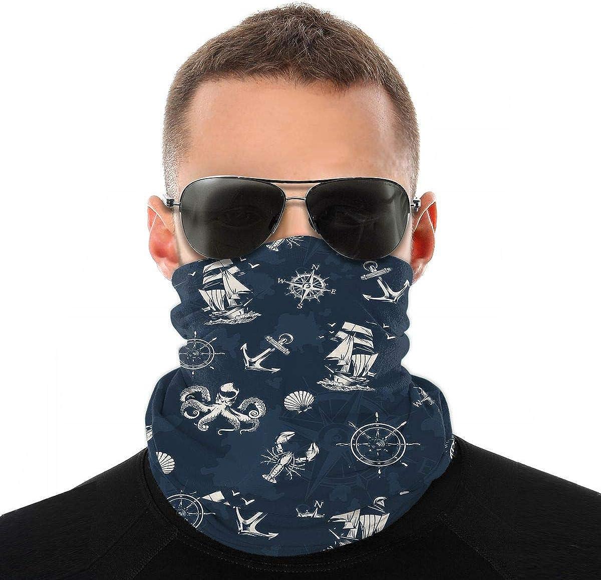 KiuLoam Bandanas Face Mask, Vintage Sea Anchor Compass Wheel Octopus Neck Gaiter Mask Headband for Men Women Face Scarf Dust, Outdoors, Sports