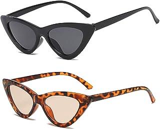 2 Pack Cat Eye Vintage Square Sunglasses Women Retro...