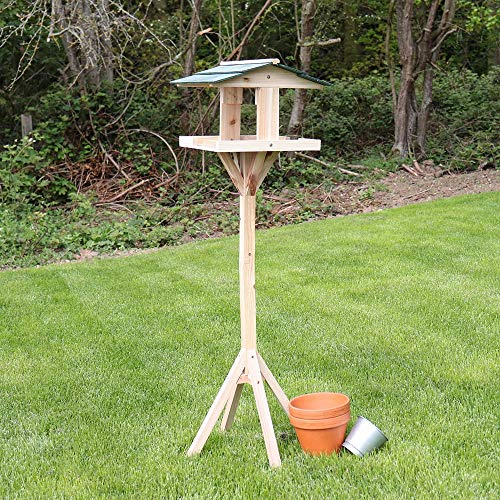 Kingfisher BF009 Traditional Wooden Bird Feed Table with Green Roof