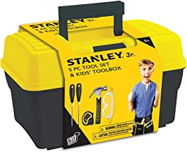 Stanley Jr. – Tool Box and 5 pcs Set of Tools, Tool Set Ages 5+ (TBS001-05-SY), Mixed