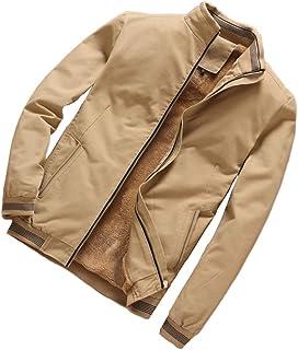 PinShang Men Casual Thicken Velvet Windbreaker Coat Stand Collar Middle Long Jacket Overcoat yellow 2XL