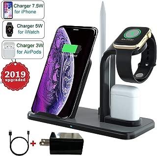 3 合 1 无线充电站,OOLYCIO 快速无线充电底座带适配器,兼容 Apple Watch 和 Airpods,无线充电器兼容 iPhone X/XR/Xs Max/8/8 Plus