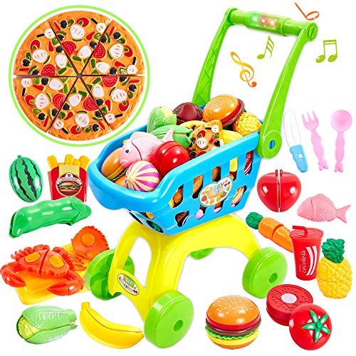 Buyger Supermercado Carrito de Compras Juguetes de Corte Frutas Verduras Alimentos Juego de Simulación para Niños Niñas 3+ Años