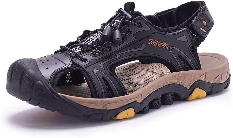 Outdoor Sport Hiking Sandals Men Microfiber Leather Beach shoes Anti-Slip Flat Collision Avoidance Close Toe Hook&Loop Strap (color   Black, Size   5.5 UK)