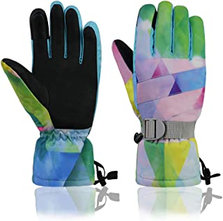 YR.Lover Ski Gloves Winter Waterproof Snowboard Snow Warm Touchscreen Cold Weather Women,Men,Kids Gloves Wrist Band