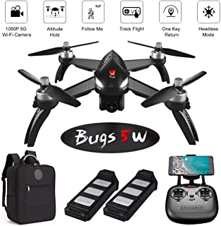 ElementDigital MJX Bugs 5W GPS Drone App Operation iOS Android 1080P Camera Video 1-Key RTH Altitude Hold Track Flight Headless Brushless Motor, 2 Battery, Adjustable Camera Angle, Backpack for B5W