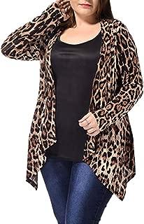Plus Size Leopard Print Asymmetric Open Front Fashion Cardigan Coat Women