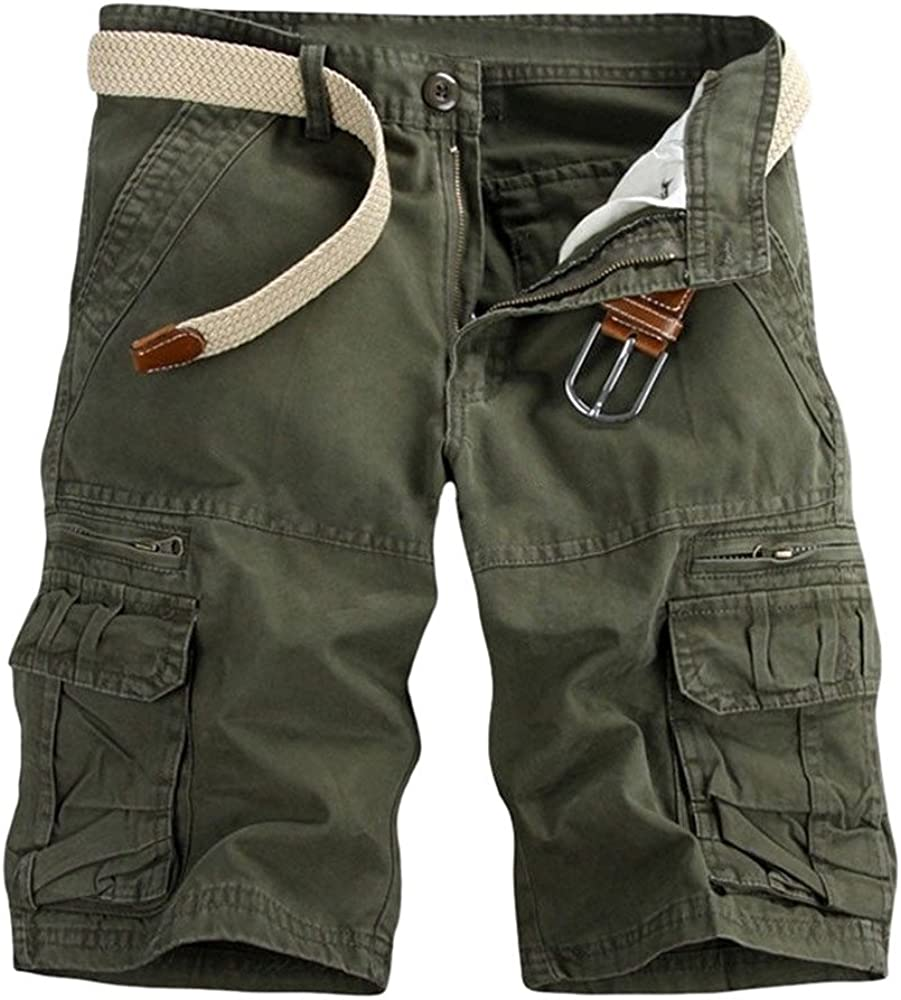 VEKDONE Men's Outdoors Cargo Shorts Casual Lightweight Multi-Pocket Stretchy Cotton Twill Camo Shorts Pants Male