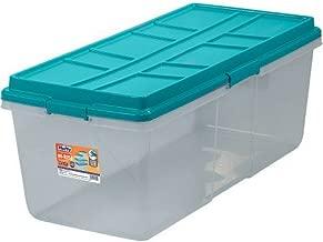Hefty HI-RISE Storage Bins, 113 Qt. XL Stackable Bin with Latch, Teal/Clear