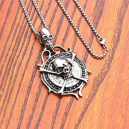 KJFUN Rock Pocket Watch Skull Stars Esqueleto Talla Colgante Cadena Rebelde Reloj Gótico Hueco Regalos Frescos Geniales