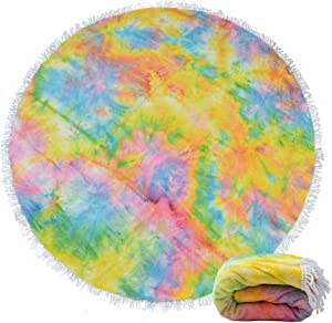 Round Beach Towel with Tassels, Microfiber Beach Blanket Circle Beach Towel Blanket for Pool Beach Vacation Cruise Gift, Soft and Absorbent, Thick and Large 61 Inch, Tie Dye Yellow