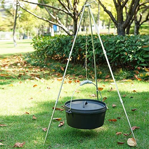 Camping Stativ faltbare bewegliche Aufhänger hängend für Kochen im Freien Trocknen von Kleidung Schmorbraten Grillen im Freien Picknick Camping BBQ Kochen mit Aufbewahrungstasche (Black)