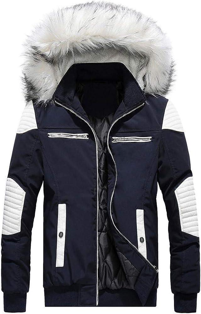 iLXHD Fashion Men's Faux Fur Collar Hoodied Warm Fleece Lined Down Jackets and Coats