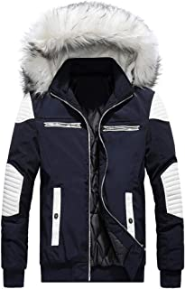 Men's Parka Jacket for Winter Down Coats NRUTUP Leather Patchwork Puffer Jacket Faux Fur Hooded Active Outdoor Overcoat