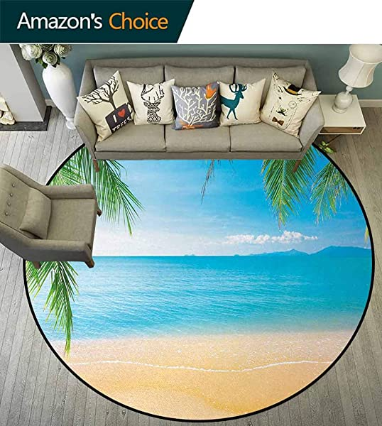 Beach Modern Machine Washable Round Bath Mat Exotic Lagoon Sand Ocean Paradise Picture Thailand Nature Picture Non Slip Living Room Soft Floor Mat Diameter 35 Inch Sky Blue Green Sand Brown