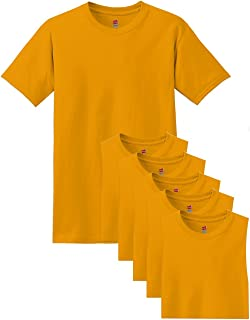 Hanes Men's Comfortsoft 6 Pack Crew Neck Tee - Gold - S