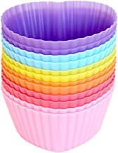 Mirenlife Reusable and Non-stick Silicone Baking Cups/Cupcake Liners/Muffin Cup Molds in Storage Container-12 Pack-6 Vibrant Colors Heart