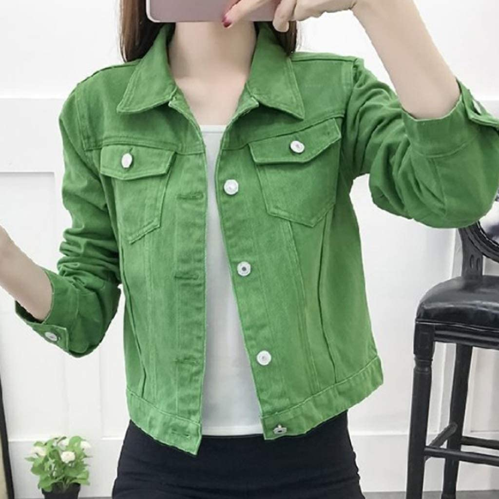 PDGJG Ladies Max 89% OFF Jackets Sales and Coats Short Color Candy Autumn Casual