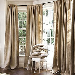 Burlap Curtains Panel Set of 2 Drapes 100% Jute 7 Ft Curtain 84