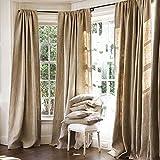 Burlap Curtains Panel Set of 2 Drapes 100% Jute 12 Ft Curtain 144' x 60' Natural Burlap