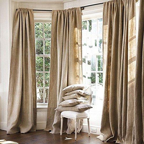 "Burlap Curtains Panel Set of 2 Drapes 100% Jute 5 Ft Curtain 60"" x 60"" Natural Burlap"
