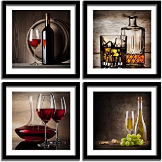 ENGLANT – 4 Pieces Framed Red Wine Wall Decor, Multi Panel Abstract Canvas Wall Art, Modern Whiskey Poster Canvas Print for Kitchen, Dining Room, Living Room, Bar, Restaurant Decoration Ready to Hang