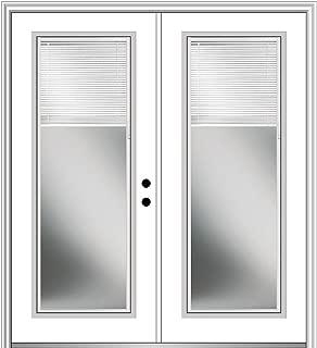 National Door Company Z029675L Fiberglass Smooth, Primed, Left Hand In-Swing, Exterior Prehung Door, Internal Blinds Full Lite, 64