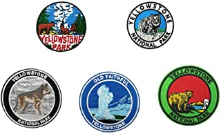 5pcs Set Yellowstone National Park Embroidered Iron on sew on Patches Nature Badge