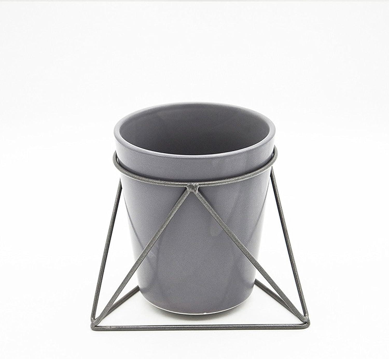 MBD Geometry Flower Rack Ceramic Flowerpot Iron Holder Combination