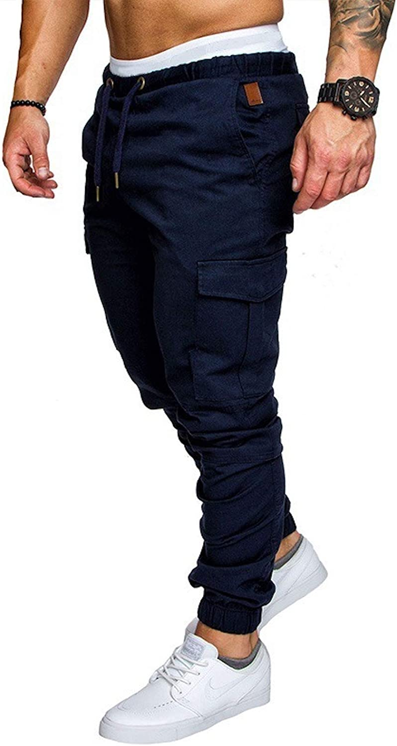 We OFFer at cheap prices Elonglin Mens Cargo Chino Max 62% OFF Pants Slim El Skinny Jogging Fit