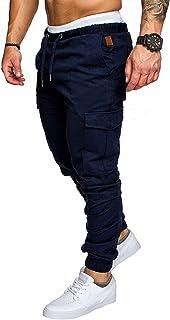 Elonglin Men's Cargo Trousers Slim Fit Skinny Jogging Pants Elasticated Waist Drawstring Chino Pants Tracksuit Bottoms