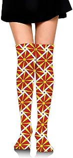 マケドニアの旗 オーバーニー ソックス レディース ニーソックス ハイソックス 美脚 着圧 保温 防寒 かわいい 通学 通勤