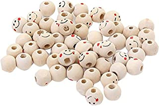 Beautiful Bead 40 pcs 10mm Wooden Round Smile Face Loose Beads