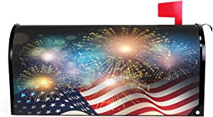 Wamika American Flag Patriotic USA Magnetic Mailbox Cover MailWraps 4Th of July Memorial Day Firework Star Mailbox Wraps Post Box Garden Yard Home Decor for Outside Standard Size 20.8