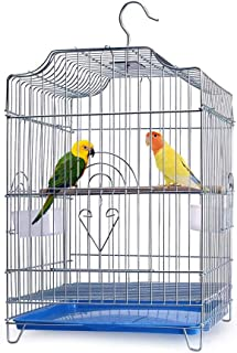 Gluckluz Bird Cage Large Parrot Stainless Steel Birdcage Breeding Pigeon Villa with Food Container and Wooden Stick, Easy ...
