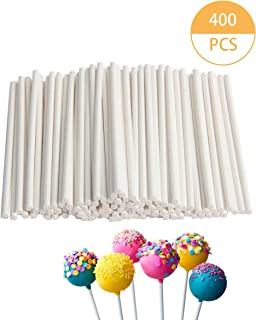 SBYURE 400 Count White 4 Inch Lollipop Sticks,Cake Pops Making Tools Candy Making Sucker Sticks for Cake Pop,Cookies,DIY Homemade Fruit Candy,Chocolate,Party